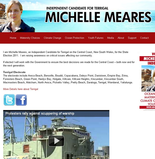 Michelle Meares objecting to the sinking of the ex-HMAS Adelaide at Avoca Beach