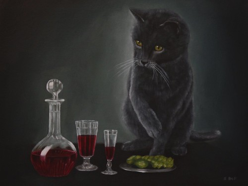 Red Wine and Black Cat by Sid's art