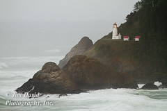 Heceta Head Lighthouse (jim_david) Tags: travel sea vacation cliff house storm tourism fog oregon coast rocks stock shoreline rocky tourist pacificocean coastal shore maritime guide nautical rough beacon navigation hecetaheadlighthouse waveslight