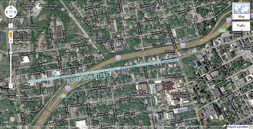I-40 and Jefferson St, Nashville (via Google Earth, marked by me)