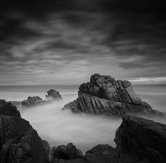 The Cleaves of Time (nlwirth) Tags: seascape nature landscape yup montereycounty 30seconds f63 asilomarstatebeach pacificgroveca bwnd110 sonyalpha700 absoluteblackandwhite 1118mmwideangle weeklypick bestcapturesaoi nlwirth 52monochrome