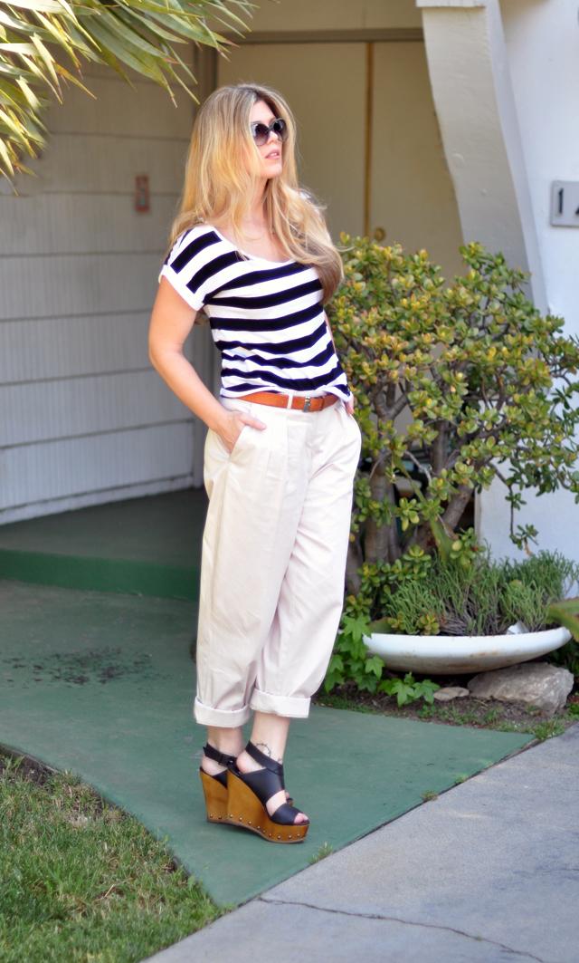 khaki men's pants and striped   shirt