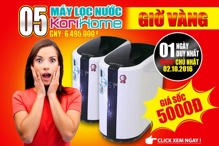 GIỜ VÀNG GIÁ SỐC - 05 Máy lọc nước KoriHome giá trị 5000đ !