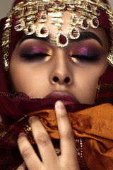D R O W N I N G   G L O O M (DesertWindsPhotography) Tags: art photography jewelry makeup culture indian red orange uae qatar morocco saudiarabia kuwait desert winds women bedouin burgundy gold pink sleep pose