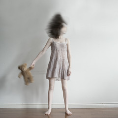 Breaking Childhood (kateesm) Tags: bear motion childhood hair crazy adult teddy kate pale growing nightgown esm developing kateesm