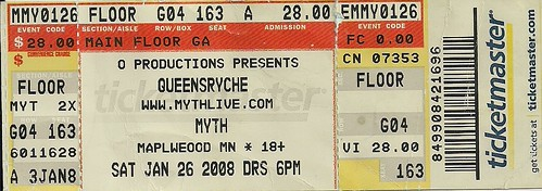 01/26/08 Queensryche/Don Dokken @ Maplewood, MN (Ticket)
