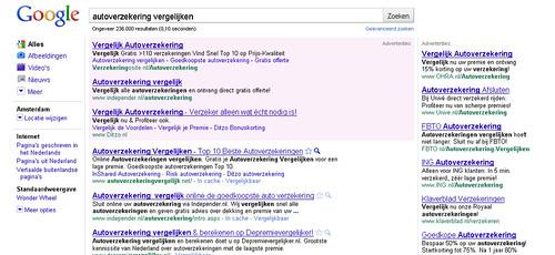 Google AdWords top advertentie met lange titel - voorbeeld 'autoverzekering vergelijken'.