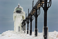 """Frozen Light""   St. Joseph Northpier Lighthouse, St. Joseph, Michigan (Michigan Nut) Tags: usa snow ice geotagged michiganlighthouses stjosephmichigan winterlighthouse stjosephlighthouse"