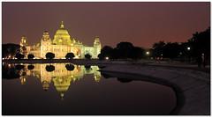 victoria memorial (Soumya Bandyopadhyay) Tags: panorama reflection night memorial wide victoria kolkata westbengal canon1785mmis canoneos40d