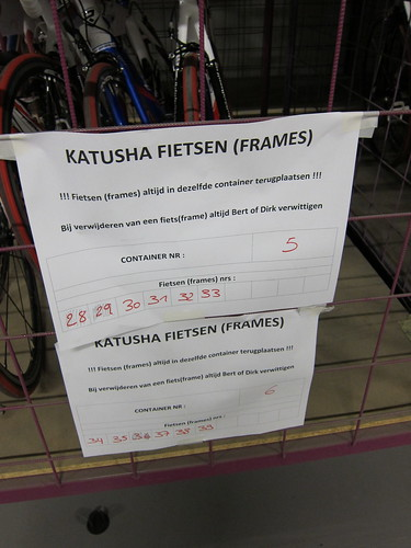 There were over a dozen carts filled with returned Katusha bikes