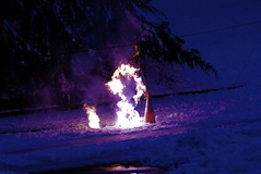 Electrical Fire (from a downed power line) ((Alex) It's my whole damn raison d'etre!) Tags: blue snow storm alex fire power purple line electrical downed erkiletian yahoo:yourpictures=elements