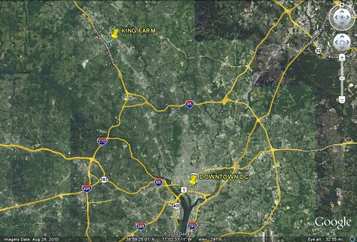 location of King Farm in relation to the Washington region (via Google Earth)