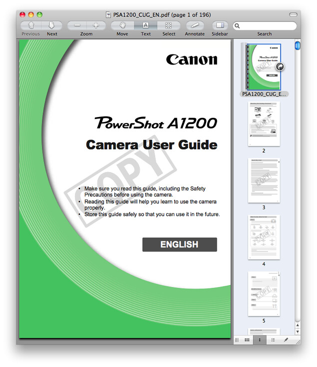 Canon A1200 Manual