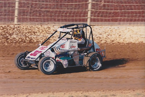 Tony Stewart races at the 16th Street Speedway in September 1998