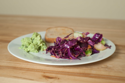 Guac on Toast and Cabbage