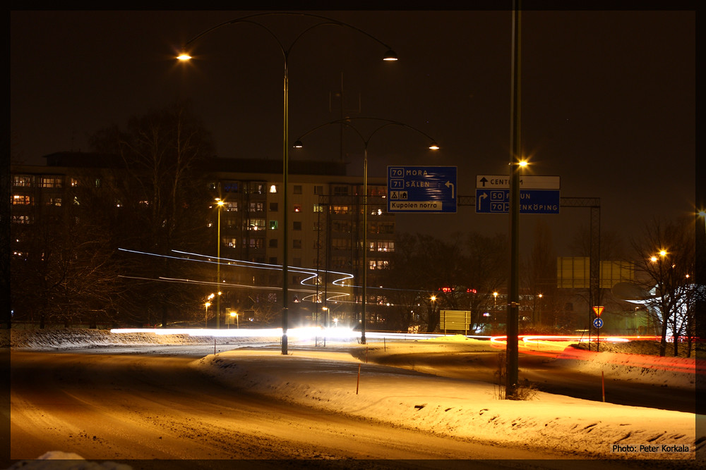 Roundabout in Borlange at Night