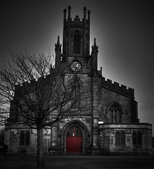 St James Chruch (isdky) Tags: door red colour tree tower clock church manchester pentax sigma oldham stjameschurch selective selectivecolour 30mm k7 sigma30mmf14 tonemapped colourpopping pentaxk7