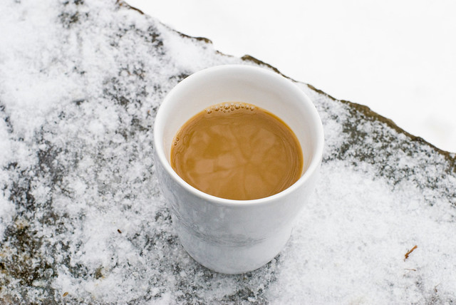 Coffee in the snow.