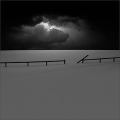 Winter Stories (Olli Keklinen) Tags: winter sky bw snow clouds photoshop fence dark square landscape nikon scenery d300 2011 500x500 ok6 ollik 20110205