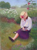 Reading in the Park - pastels