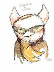 Detective Swine (simki68) Tags: portrait art face mobile illustration sketch mobil grafik brushes artrage fingerpainting fingerpainted ipad mobileart mobilart artmobile fingerpainters simki68