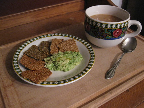 Flax Crackers with Chunky Avocado Butter and Fava Bean Soup