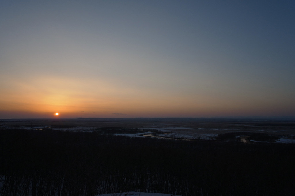 the sunset at Kushiro marshland