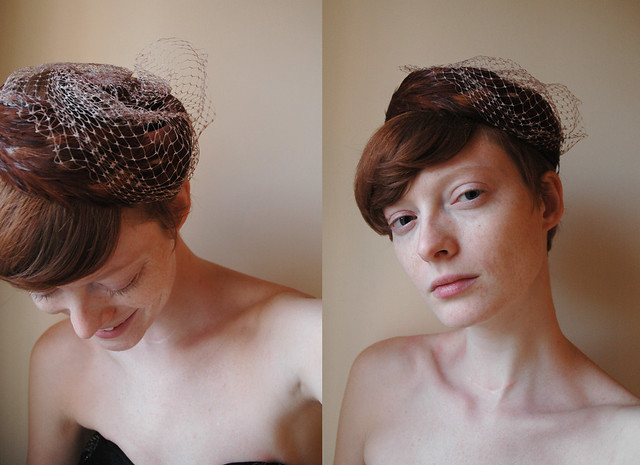 Vintage Peasant feathered pill box hat