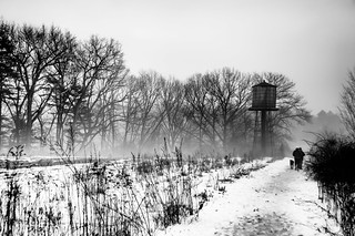 Snowy Field with Water Tower