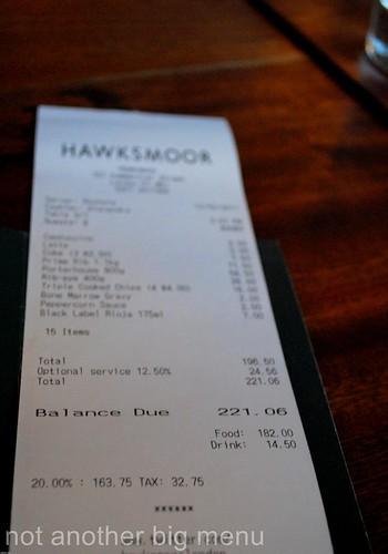 Hawksmoor receipt