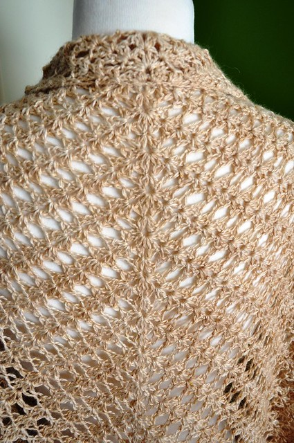 Shell & Feather crochet shawl finished-34x62inches-4