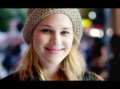 Vanessa. Stranger 119 (Andy. H) Tags: street vanessa portrait girl beautiful smile st hair 50mm haze eyes nikon focus pretty lashes bokeh f14 streetphotography sigma melbourne swanston beannie d90