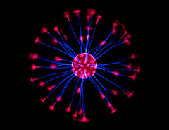 Plasma 10 (Jane in Colour) Tags: pink blue light red color colour glass lamp ball globe colorful sony orb gas sphere pointandshoot plasma colourful capacitor beams conductor tesla w50 electricfield plasmaglobe sonydscw50 ionizedgas janethomas janeincolour dialectric