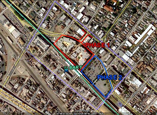 the site for Phase Two in relation to Phase One & the BART station (via Google Earth)
