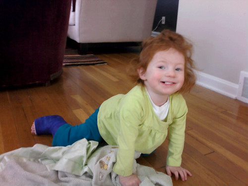 She's officially crawling to chase dot.