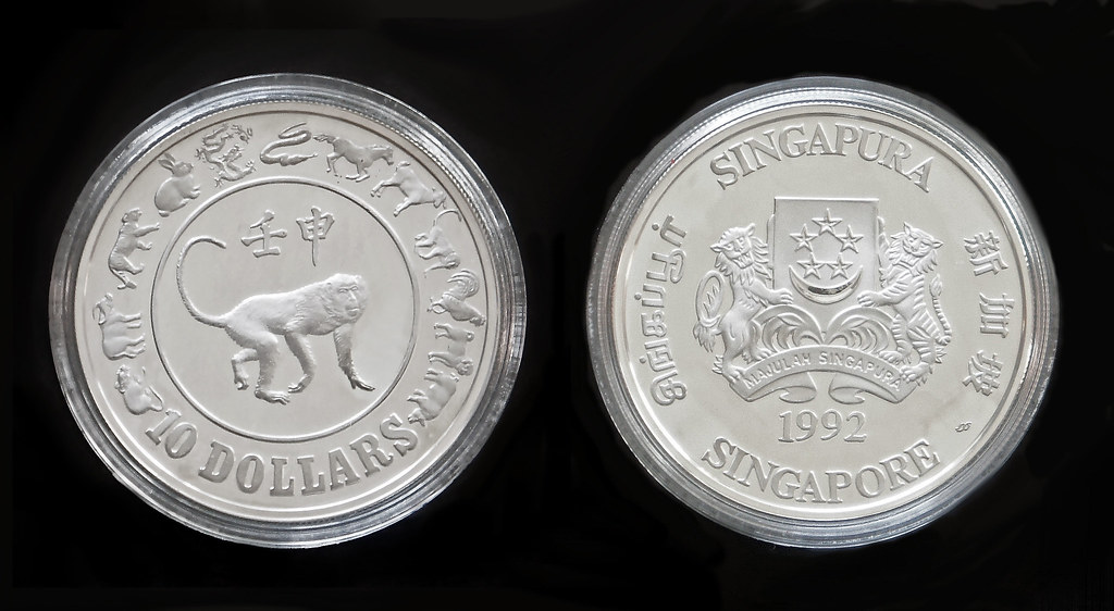 1992 Year of the Monkey $10 Silver Proof Coin