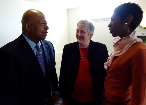 L to R: Congressman Elijah Cummings, GHCC Executive Director Karen Stokes, Barclay Youth Safe Haven Director Shekita Wilkins