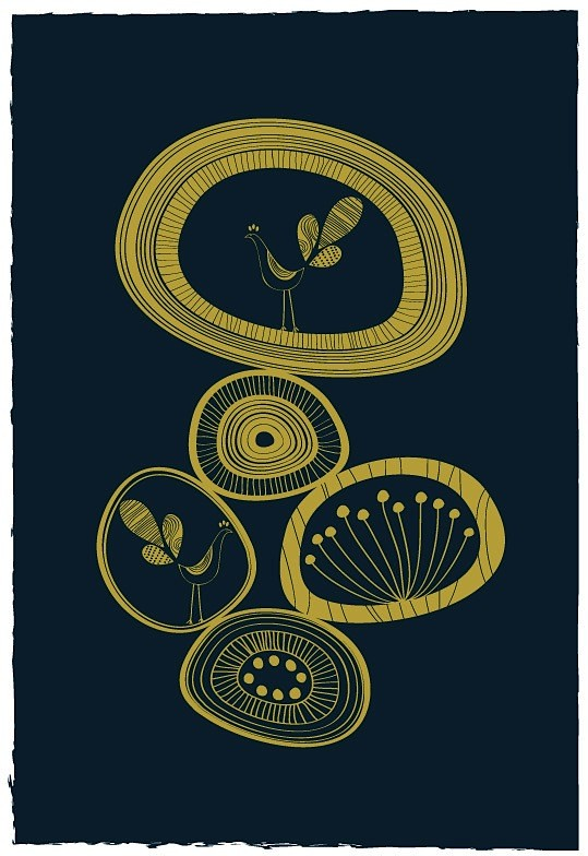 Pebble shaped Flowers Print by dekanimal