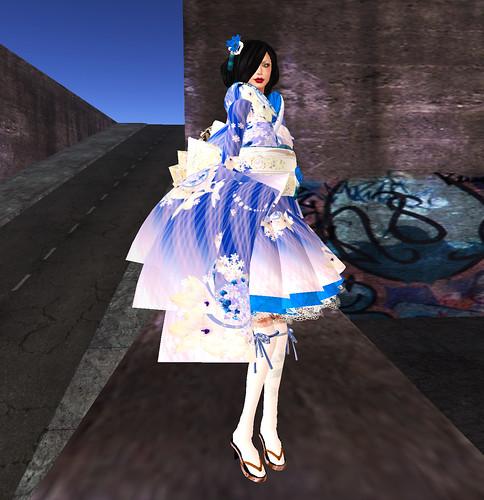 kimono side blue