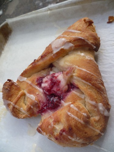 heart-shaped raspberry danish