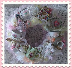 Tea with Me (Treasured Heirlooms) Tags: pink blue roses bunny bunnies yellow easter aqua purple candy lavender pearls ephemera wreath vintagepostcard pastels eggs teacups chicks teapots lollipops vintageeaster candycups