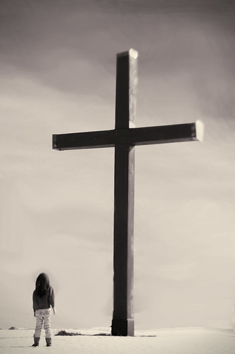 Audrey at the cross (b&w)