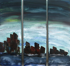 """Stadt am Meer"" Trilogie Acryl auf Leinwand 60 x 60 cm (colore2010) Tags: meer wasser stadt blau acryl abstrakt"