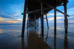 blue perspective (Eric 5D Mark III) Tags: california sunset sky usa cloud seascape color beach canon landscape pier unitedstates perspective wideangle newportbeach orangecounty ef14mmf28liiusm eos5dmarkii