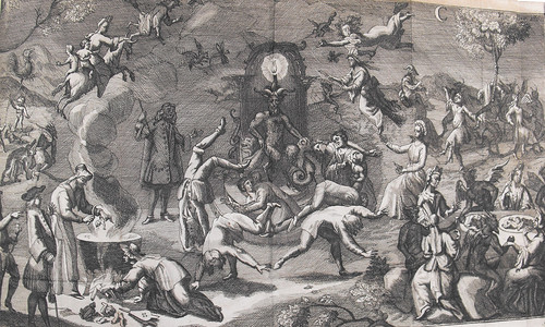 Folded-out engraving showing witches' sabbat