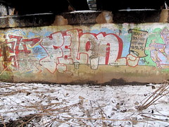 FELON (Lurking Phantom) Tags: old bridge winter graffiti baltimore older fading burner flaking felon barscene