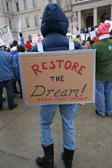 Wisconsin Solidarity Rally in Michigan (Peace Education Center) Tags: michigan teamsters protest unions seiu ibew pec peaceeducationcenter peaceedcenter wiunionsmadmove wisconsinlabor