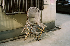 Abandoned chair (Woods | Damien) Tags: china street film broken chair shanghai lock   rue chaise argentique olympus35sp kodakcolorplus200