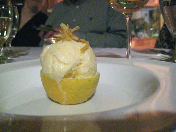 spicy lemon gelato w/ candied lemon rind served in a lemon bowl