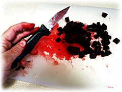 Beet Butchery (lsdinaz) Tags: red food cooking hand knife vegetable cutting beets longshot infocus highquality oneface lsdins